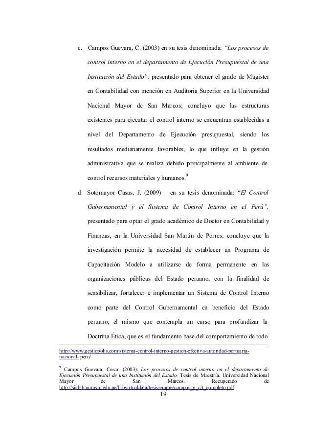 """19 c. Campos Guevara, C. (2003) en su tesis denominada: """"Los procesos de control interno en el departamento de Ejecución P..."""