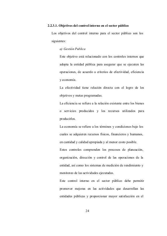 24 2.2.3.1. Objetivos del control interno en el sector público Los objetivos del control interno para el sector público so...