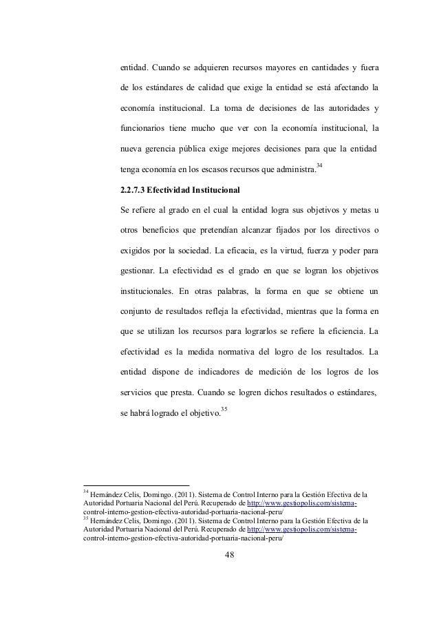 35 Hernández Celis, Domingo. (2011). Sistema de Control Interno para la Gestión Efectiva de la Autoridad Portuaria Naciona...