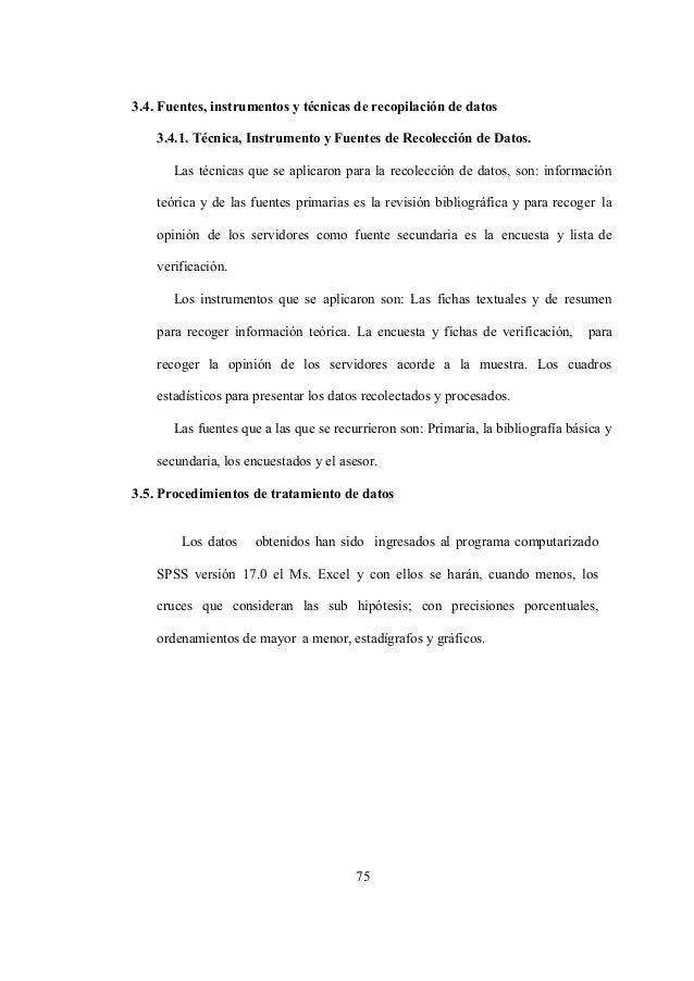 75 3.4. Fuentes, instrumentos y técnicas de recopilación de datos 3.4.1. Técnica, Instrumento y Fuentes de Recolección de ...