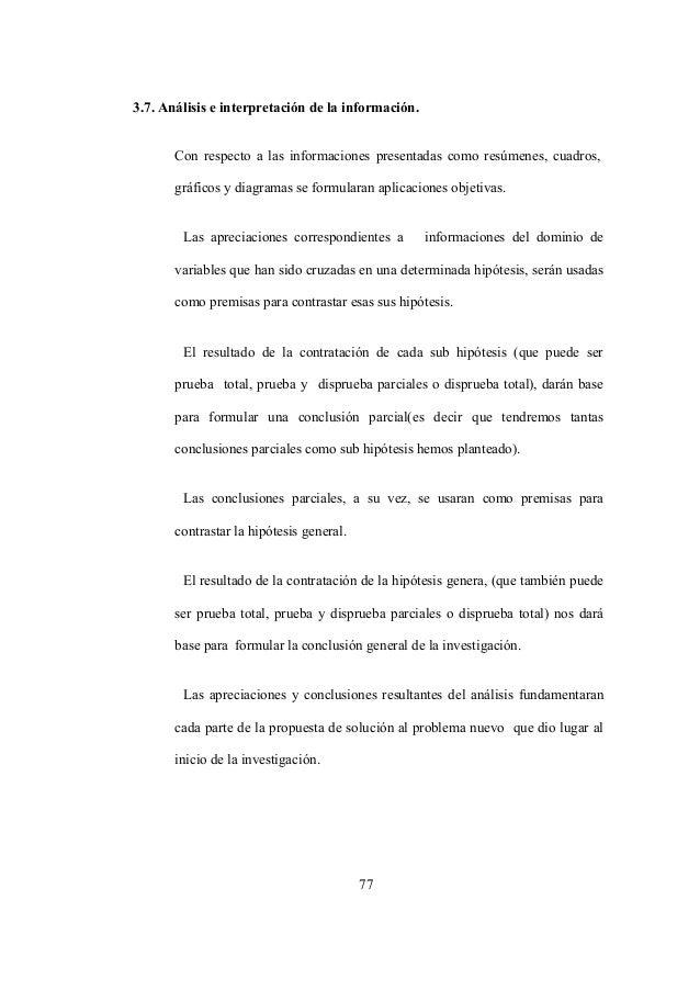 77 3.7. Análisis e interpretación de la información. Con respecto a las informaciones presentadas como resúmenes, cuadros,...
