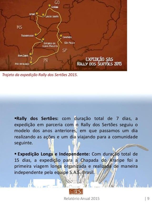 Relatório Anual 2015 | 10 Nessa viagem, testamos o modelo de realizar dois dias seguidos de ação em cada cidade. Isso poss...