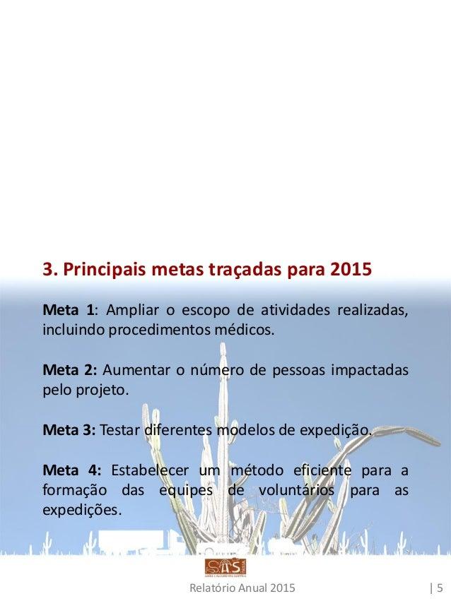 Relatório Anual 2015 | 6 4. 2015 Enquanto o ano de 2014 foi marcado por um incremento da estrutura do projeto, com a adapt...