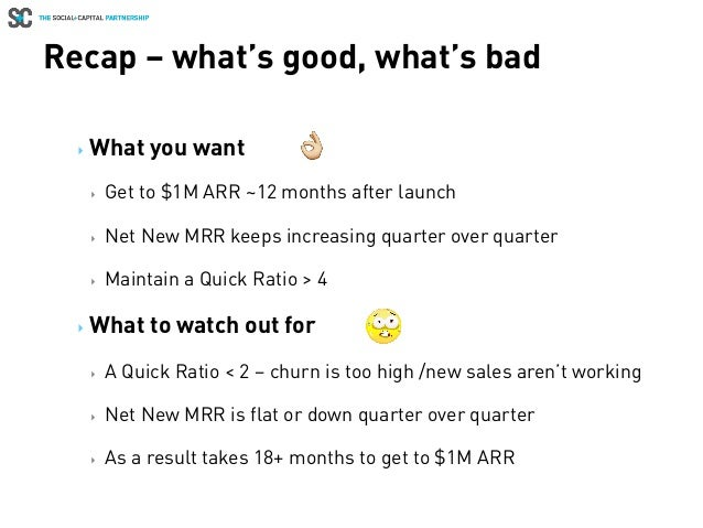 Recap – what's good, what's bad ‣ What you want ‣ Get to $1M ARR ~12 months after launch ‣ Net New MRR keeps increasing...
