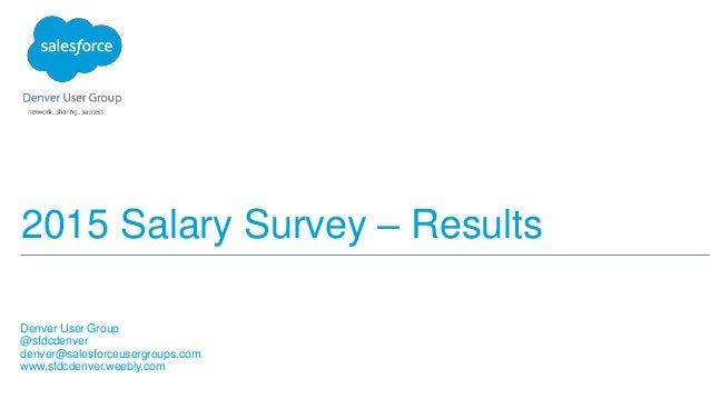 2015 Salary Survey – Results Denver User Group @sfdcdenver denver@salesforceusergroups.com www.sfdcdenver.weebly.com