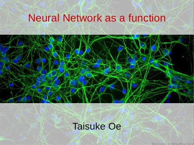Neural Network as a function Taisuke Oe