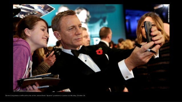 """Daniel Craig takes a selfie with a fan at the James Bond """"Spectre"""" premiere in London on Monday, October 26."""