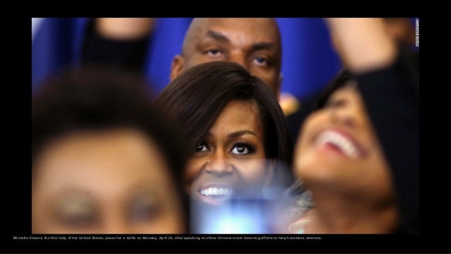 Michelle Obama, the first lady of the United States, poses for a selfie on Monday, April 20, after speaking at a New Orlea...