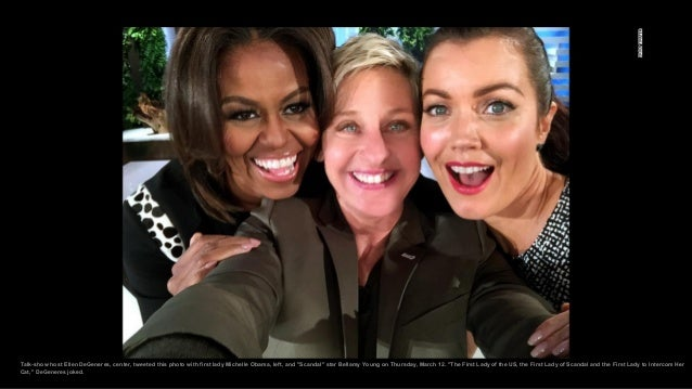 """Talk-show host Ellen DeGeneres, center, tweeted this photo with first lady Michelle Obama, left, and """"Scandal"""" star Bellam..."""