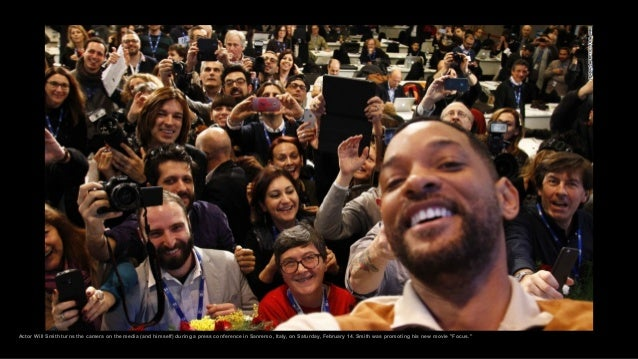 Actor Will Smith turns the camera on the media (and himself) during a press conference in Sanremo, Italy, on Saturday, Feb...