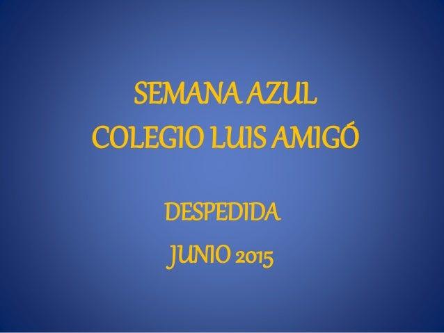 SEMANA AZUL COLEGIO LUIS AMIGÓ DESPEDIDA JUNIO 2015