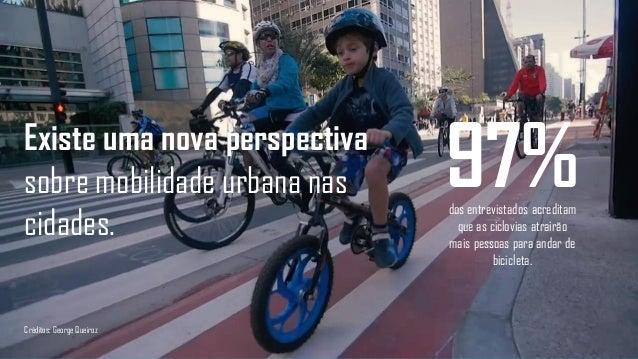 97%dos entrevistados acreditam que as ciclovias atrairão mais pessoas para andar de bicicleta. Existe uma nova perspectiva...