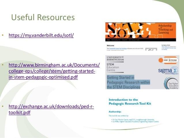 Useful Resources • https://my.vanderbilt.edu/sotl/ • http://www.birmingham.ac.uk/Documents/ college-eps/college/stem/getti...