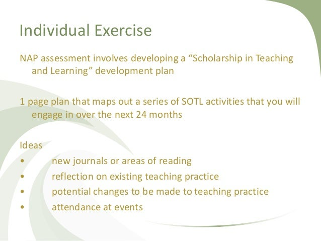 """Individual Exercise NAP assessment involves developing a """"Scholarship in Teaching and Learning"""" development plan 1 page pl..."""