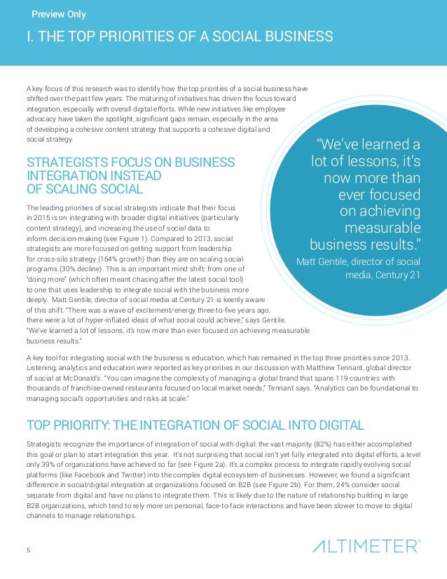 5 I. THE TOP PRIORITIES OF A SOCIAL BUSINESS A key focus of this research was to identify how the top priorities of a soci...