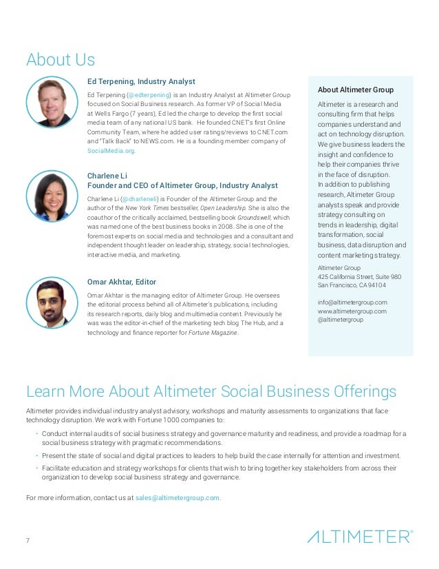 About Us Learn More About Altimeter Social Business Offerings Altimeter provides individual industry analyst advisory, wor...
