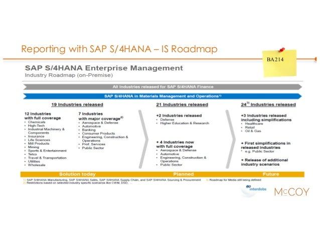 Reporting with SAP S/4HANA – IS Roadmap BA214