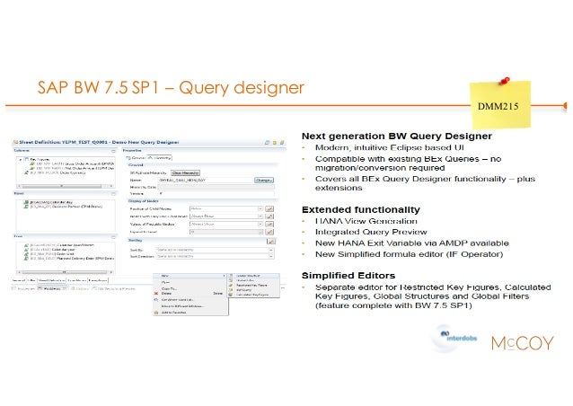 SAP BW 7.5 SP1 – Query designer DMM215