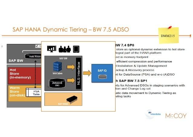SAP HANA Dynamic Tiering – BW 7.5 ADSO DMM215