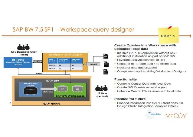 SAP BW 7.5 SP1 – Workspace query designer DMM215