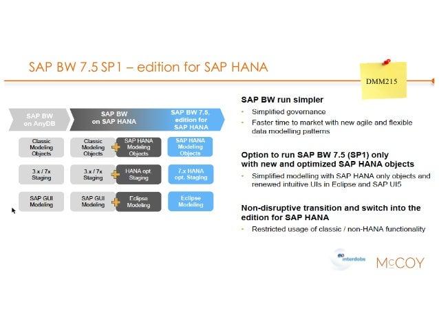 SAP BW 7.5 SP1 – edition for SAP HANA DMM215