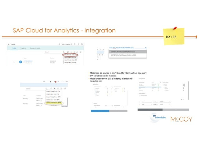 SAP Cloud for Analytics - Integration BA108