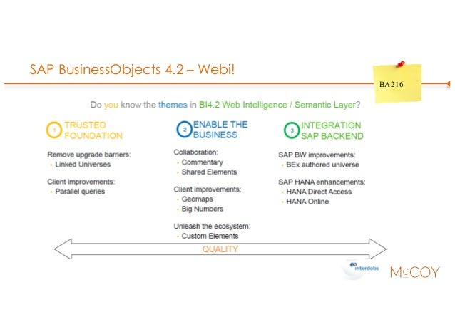 SAP BusinessObjects 4.2 – Webi! BA216