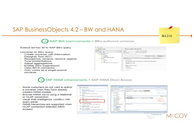 SAP BusinessObjects 4.2 – BW and HANA BA216