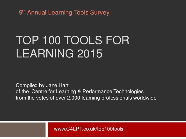 TOP 100 TOOLS FOR LEARNING 2015 Compiled by Jane Hart of the Centre for Learning & Performance Technologies from the votes...