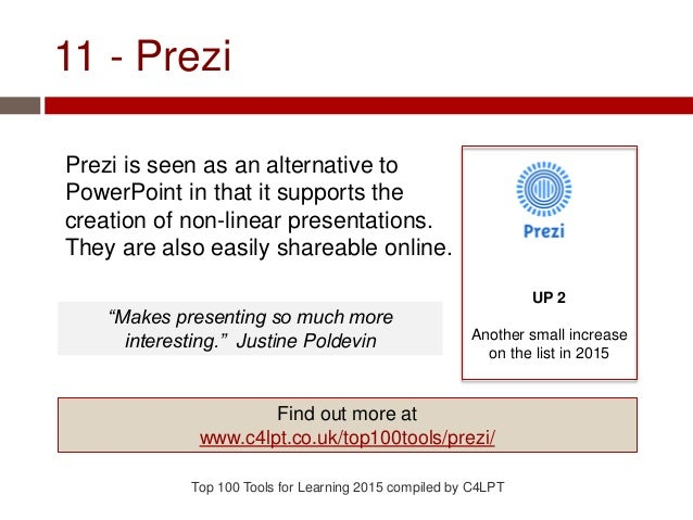 11 - Prezi Prezi is seen as an alternative to PowerPoint in that it supports the creation of non-linear presentations. The...