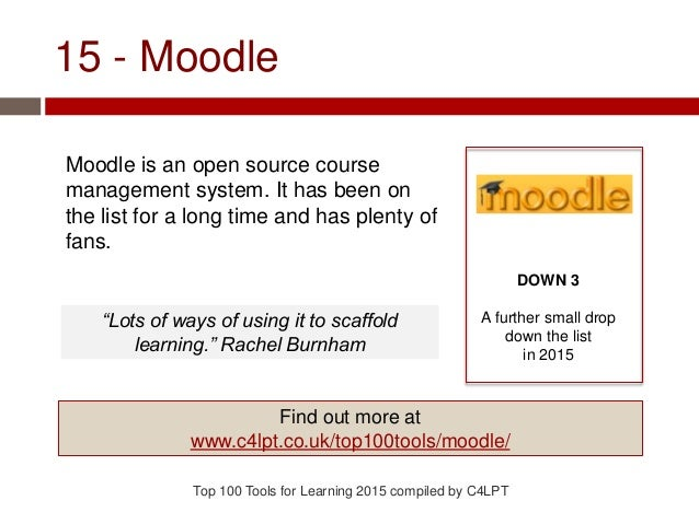 15 - Moodle Moodle is an open source course management system. It has been on the list for a long time and has plenty of f...