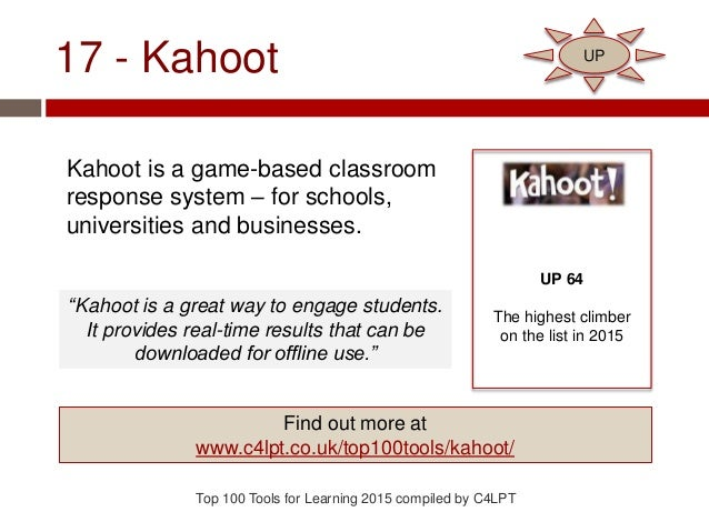 17 - Kahoot Kahoot is a game-based classroom response system – for schools, universities and businesses. Top 100 Tools for...
