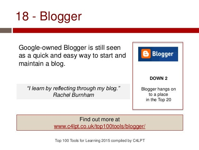 18 - Blogger Google-owned Blogger is still seen as a quick and easy way to start and maintain a blog. Top 100 Tools for Le...