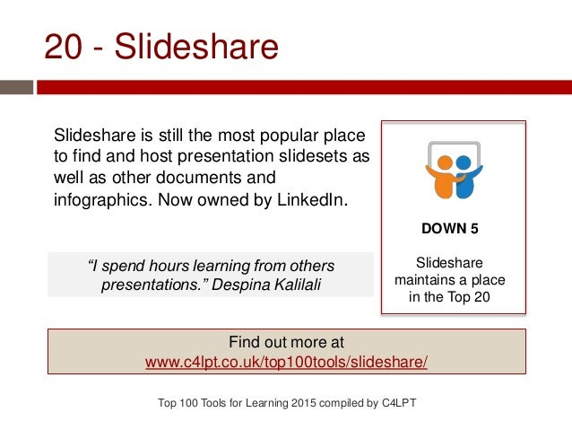 20 - Slideshare Slideshare is still the most popular place to find and host presentation slidesets as well as other docume...