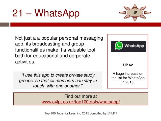 21 – WhatsApp Not just a a popular personal messaging app, its broadcasting and group functionalities make it a valuable t...