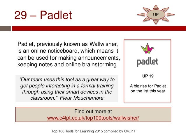 29 – Padlet Padlet, previously known as Wallwisher, is an online noticeboard, which means it can be used for making announ...