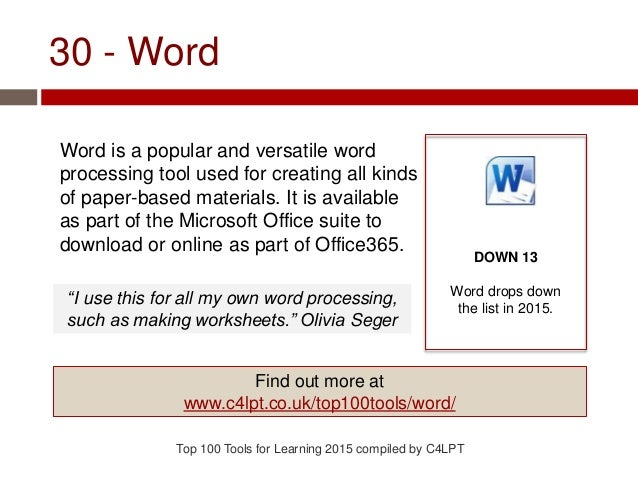 30 - Word Word is a popular and versatile word processing tool used for creating all kinds of paper-based materials. It is...