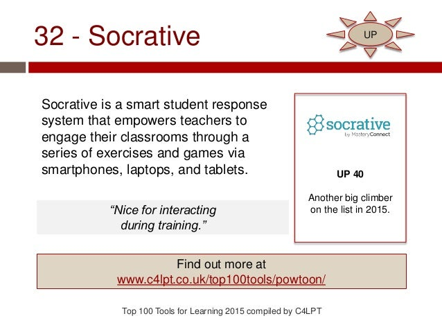 32 - Socrative Socrative is a smart student response system that empowers teachers to engage their classrooms through a se...
