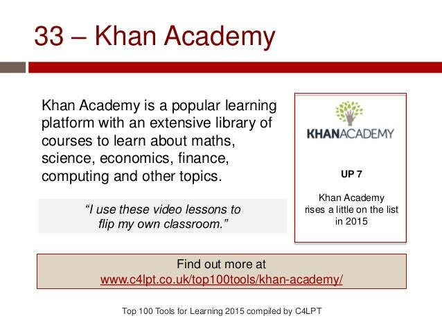 33 – Khan Academy Khan Academy is a popular learning platform with an extensive library of courses to learn about maths, s...