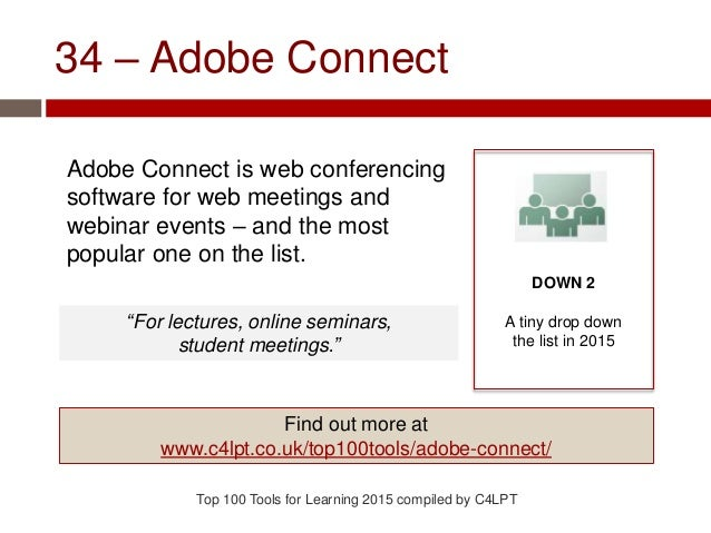 34 – Adobe Connect Adobe Connect is web conferencing software for web meetings and webinar events – and the most popular o...