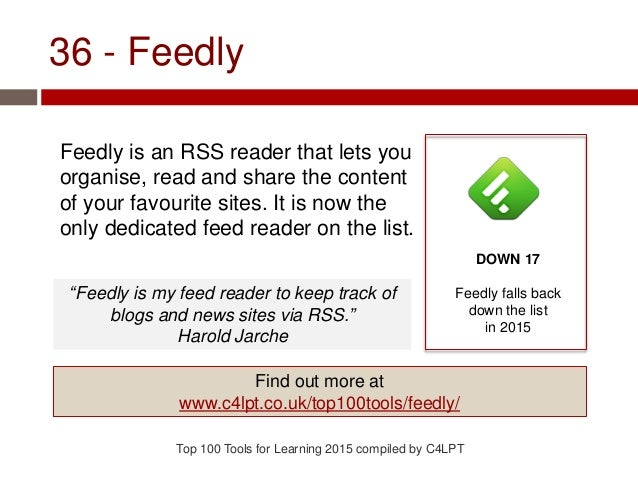 36 - Feedly Feedly is an RSS reader that lets you organise, read and share the content of your favourite sites. It is now ...