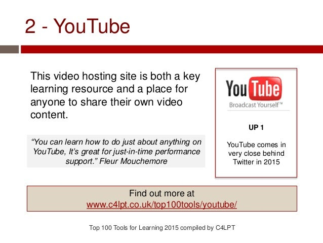2 - YouTube This video hosting site is both a key learning resource and a place for anyone to share their own video conten...