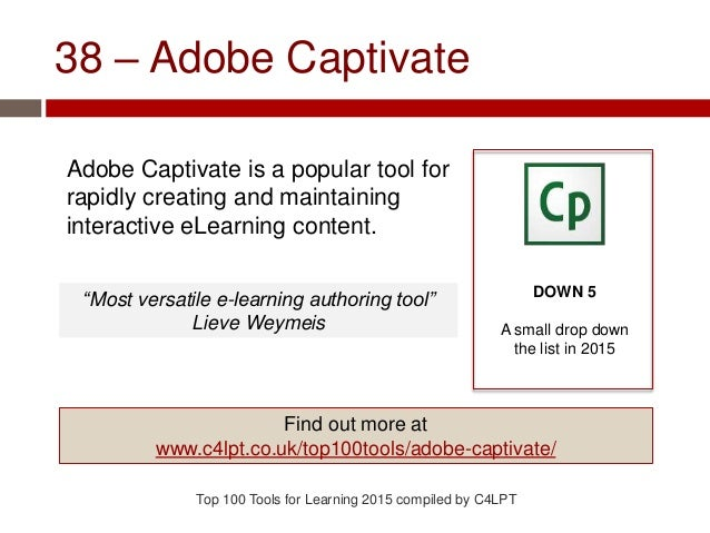 38 – Adobe Captivate Adobe Captivate is a popular tool for rapidly creating and maintaining interactive eLearning content....
