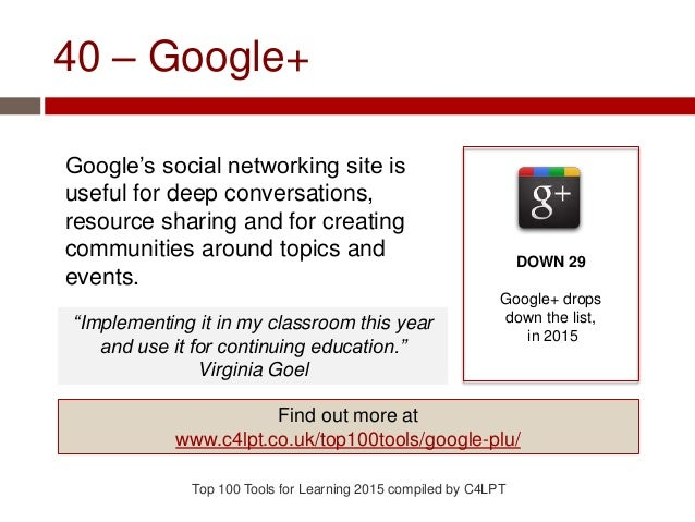 40 – Google+ Google's social networking site is useful for deep conversations, resource sharing and for creating communiti...