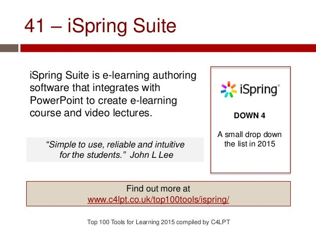 41 – iSpring Suite iSpring Suite is e-learning authoring software that integrates with PowerPoint to create e-learning cou...
