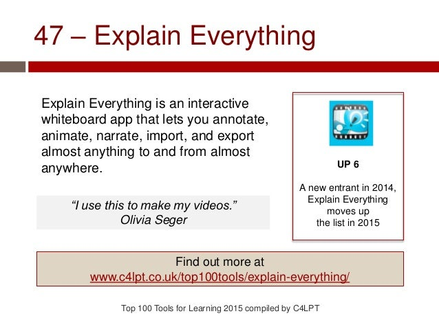 47 – Explain Everything Explain Everything is an interactive whiteboard app that lets you annotate, animate, narrate, impo...