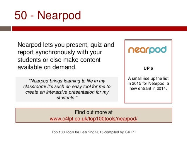 50 - Nearpod Nearpod lets you present, quiz and report synchronously with your students or else make content available on ...
