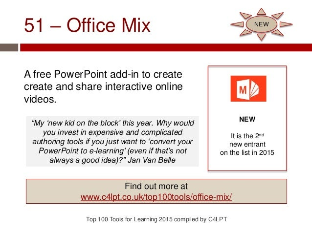 51 – Office Mix A free PowerPoint add-in to create create and share interactive online videos. Top 100 Tools for Learning ...