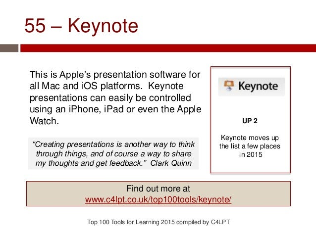 55 – Keynote This is Apple's presentation software for all Mac and iOS platforms. Keynote presentations can easily be cont...