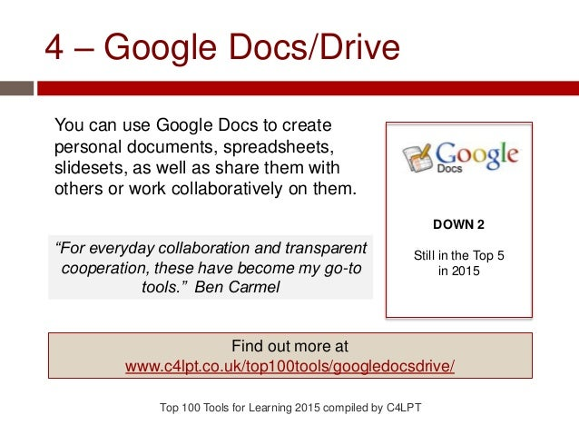 4 – Google Docs/Drive You can use Google Docs to create personal documents, spreadsheets, slidesets, as well as share them...